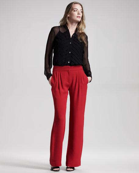 Pleated Wide-Leg Pants