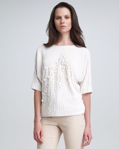 Emory Sequin Dolman Top, Cream