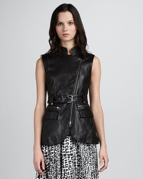 Nora Leather Zip Vest