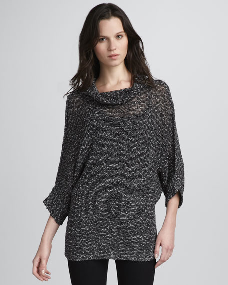 Luca Cowl-Neck Shimmery Sweater