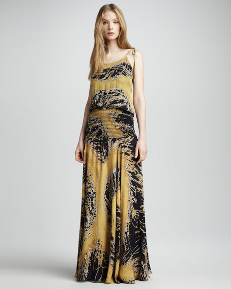 Printed Satin Gown