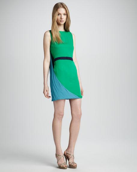 Belted Cape-Back Dress