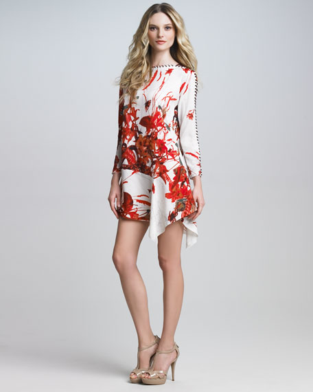 Whipstitched Floral-Print Dress