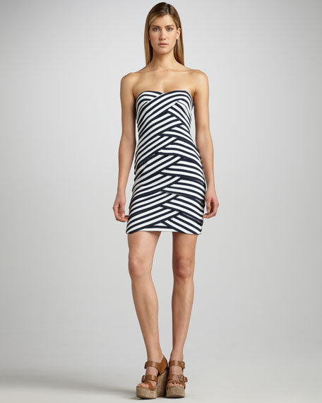 Striped Cross-Panel Dress