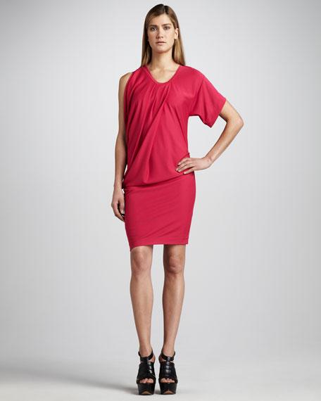 Single-Sleeve Blouson Dress