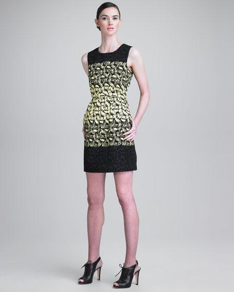Tiered Flocked-Leaf Dress