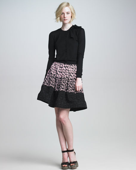 Tiered Flocked-Leaf Skirt