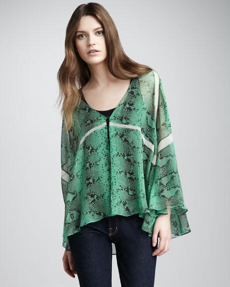 Sasha Snake-Print Kimono Top