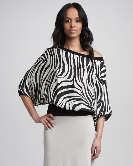 Zebra-Print Blouson Top