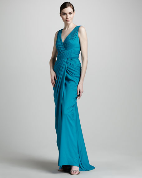 Side-Drape Pleated Gown