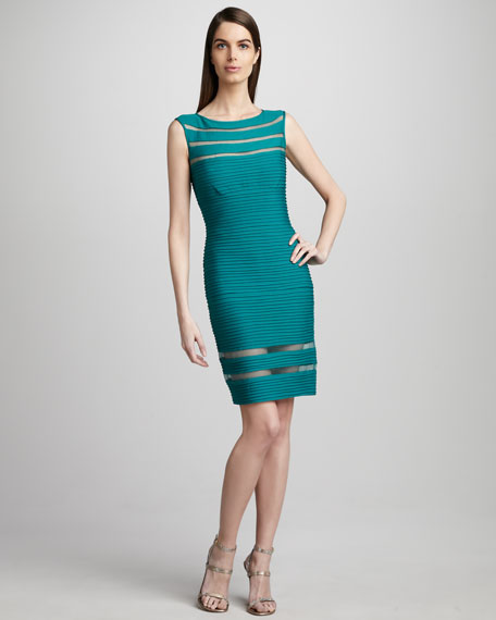 Sleeveless Illusion Sheath Dress