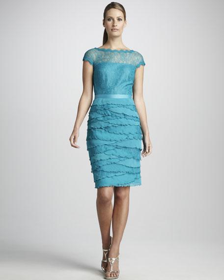 Cap-Sleeve Illusion Shutter-Tier Dress