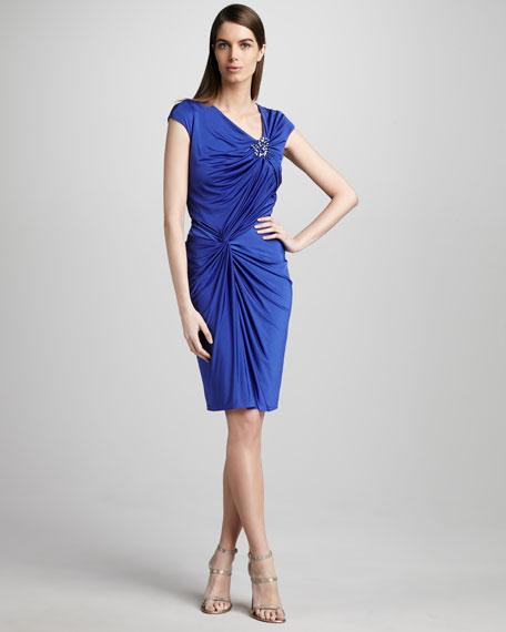 Cap-Sleeve Sheath Dress with Beaded Detail