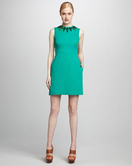 Beaded-Neck Sheath Dress