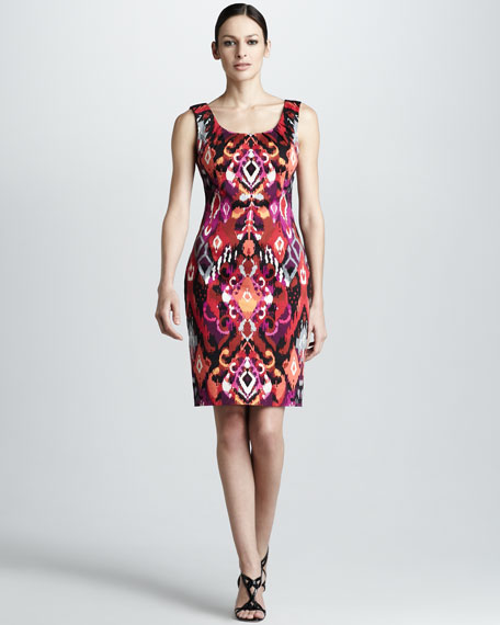 Sleeveless Jewel-Neck Print Dress