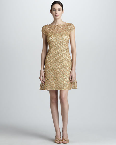 Cap-Sleeve Lace Over Slip Dress, Gold