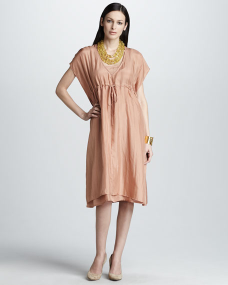 Silk Drawstring Dress
