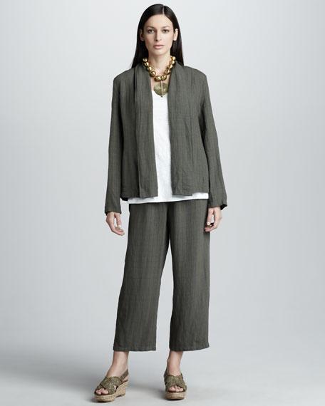 Basket-Weave Crepe Pants, Women's