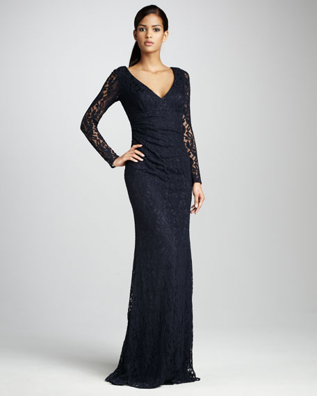 Sheer-Sleeve Lace Gown