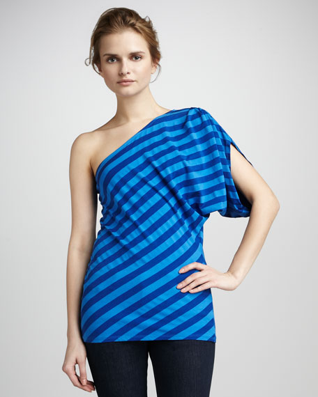 Waldo Striped One-Shoulder Top