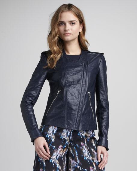 Asymmetric Leather Blazer