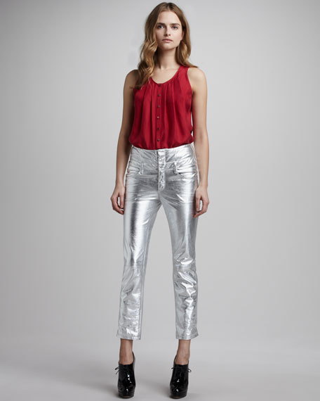 Metallic Ankle Jeans