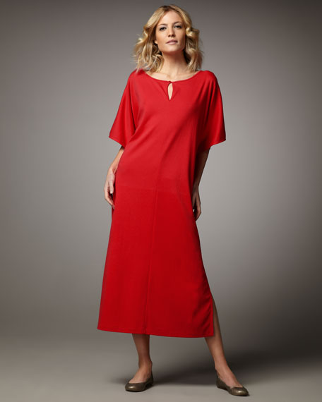 Split-Neck Dolman Dress, Petite