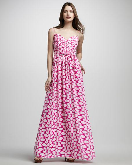 Sleeveless V-Neck Wrap Print Maxi Dress