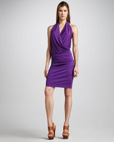 Striped Jersey Halter Dress