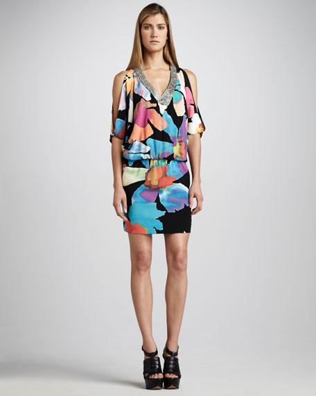 Bead-Neck Printed Blouson Dress