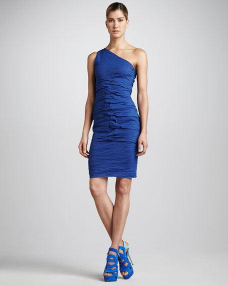 One-Shoulder Folded Cocktail Dress