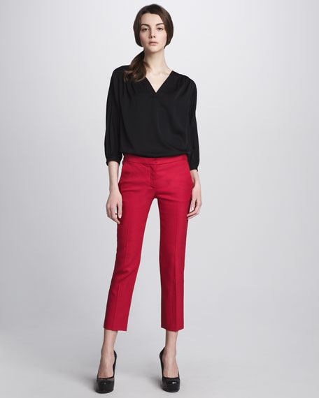 Georgine Slim Cropped Pants, Scarlet