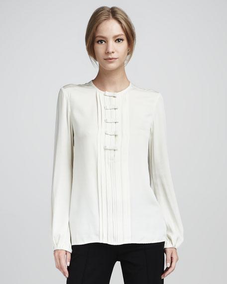 Novalee Pintucked Long-Sleeve Silk Blouse