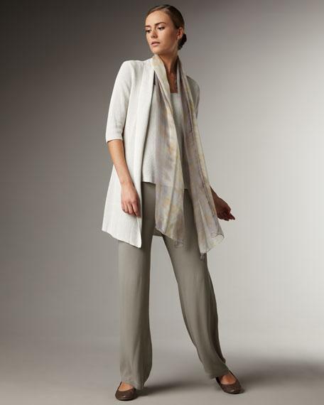 Side-Zip Georgette Pants