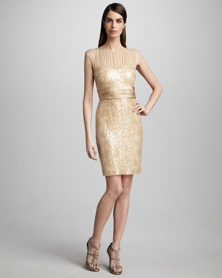 Mesh-Yoke Cocktail Dress