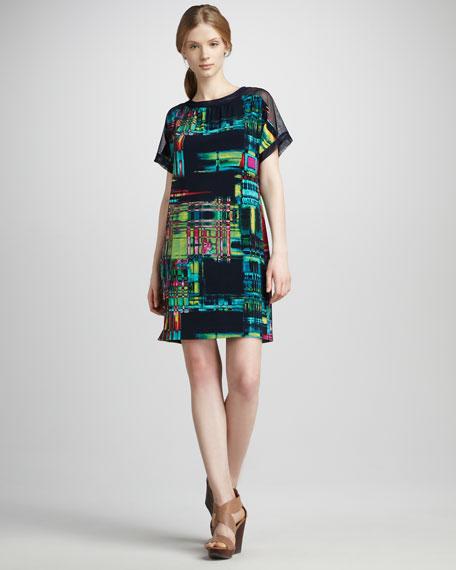 Painterly-Print Shift Dress