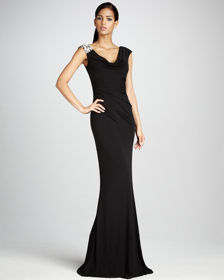 Bead-Shoulder Jersey Gown