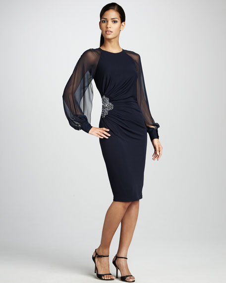 Sheer-Sleeve Cocktail Dress