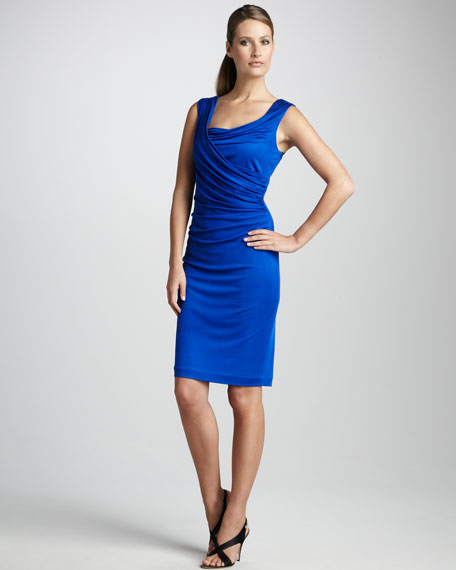 Ruched Rayon Cocktail Dress