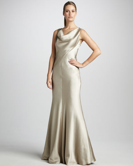 Cowl-Neck Satin Gown