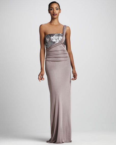 Sequined One-Shoulder Gown
