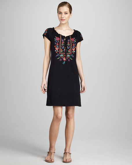 Emmy Short-Sleeve Poet Dress