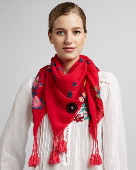 Forever Joy Embroidered Scarf