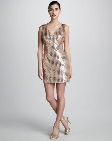 Sequined Check Dress
