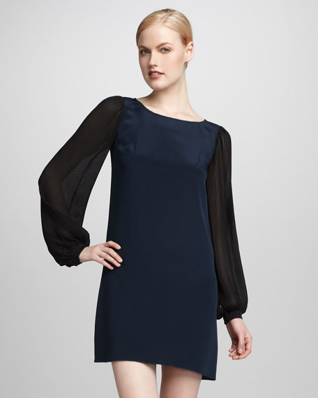 Pleated-Sleeve Dress