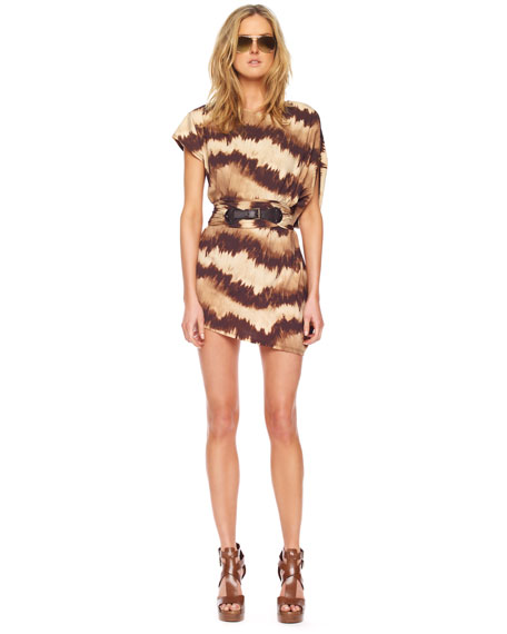 Striped Tie-Dye Asymmetric Cover-Up