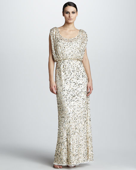 Drape-Top Sequined Gown