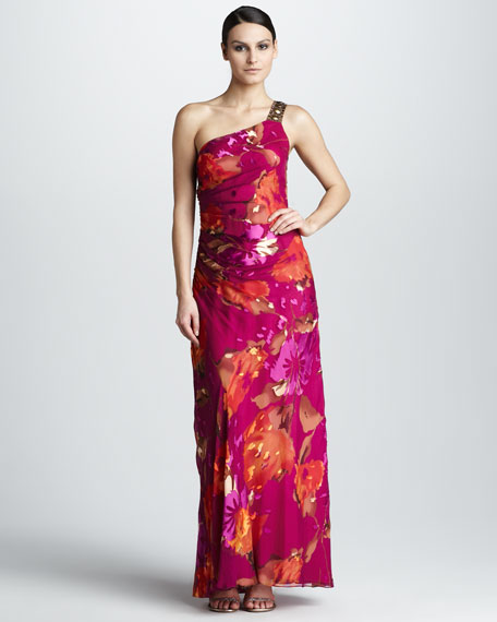 One-Shoulder Printed Gown