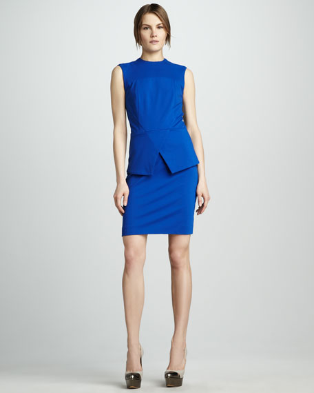 Cross-Peplum Ponte Dress