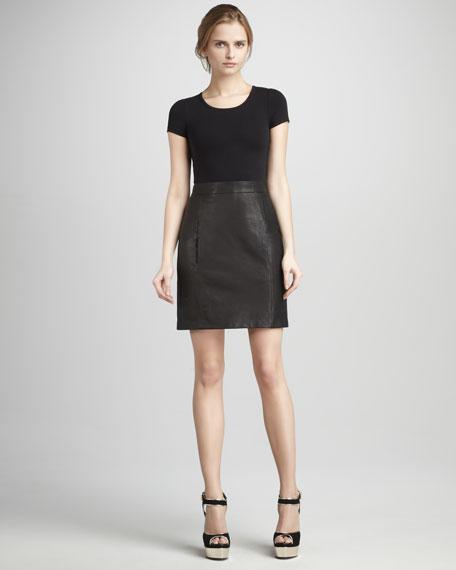 Leather Combo Dress